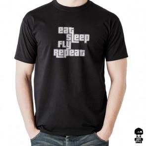 T-Shirt Eat Sleep Fly Repeat - Noir