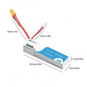 BETAFPV 300mAh 3S 45C Lipo Battery S-Version (2PCS) - XT30