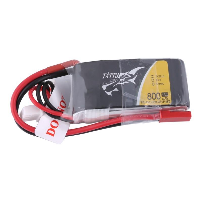Batterie Lipo Tattu 800mAh 7.4V 45C 2S