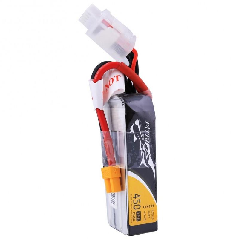 TATTU 450mAh 14.8V 75C 4S1P Lipo Battery Pack--Long Size for H Frame